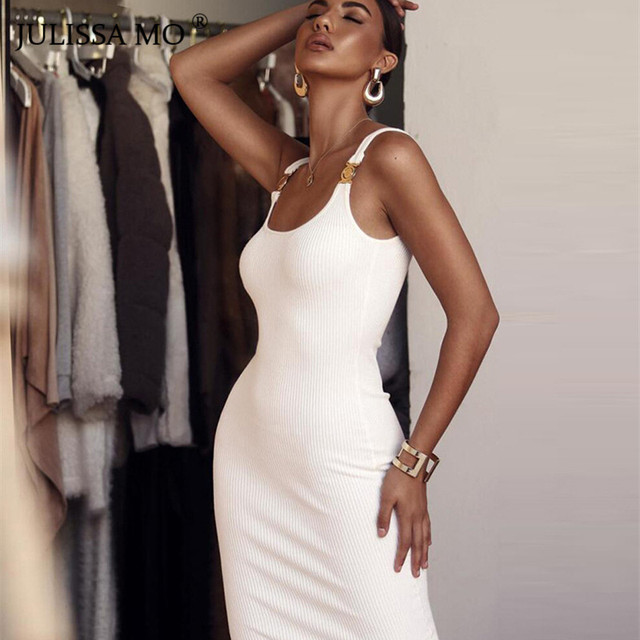 47e4afbe7d9f JULISSA MO White Knitted Sexy Bodycon Dress Women Spaghetti Strap Backless  Spring Dress 2019 New Bandage Casual Long Dresses