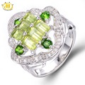 Hutang Genuine Peridot & Diopside Ring Solid 925 Sterling Silver Women's Natural Gemstone Fine Jewelry 2017