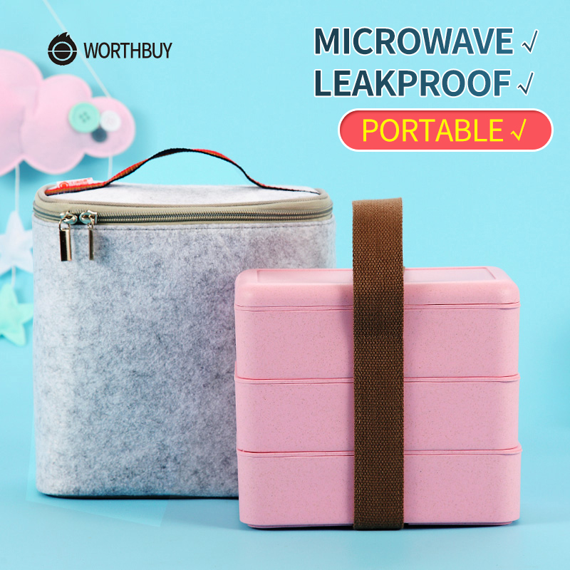WORTHBUY Microwave Lunch Box For Kids Food Storage Container Japanese Wheat Straw Leakproof Bento Box Portable School Picnic Set
