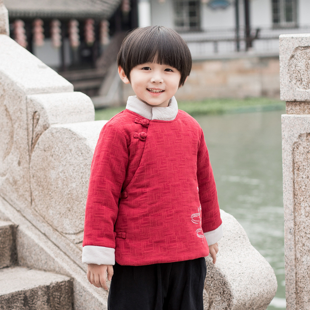 4fdb35cf1581 Traditional Chinese Style Kids Tang Tops Autumn Winter Child Boys ...