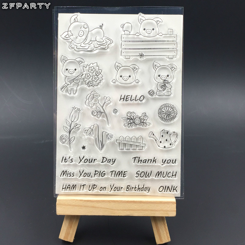 ZFPARTY Lovely Pigs Transparent Clear Silicone Stamp/Seal for DIY scrapbooking/photo album Decorative clear stamp sheets about lovely baby design transparent clear silicone stamp seal for diy scrapbooking photo album clear stamp paper craft cl 052