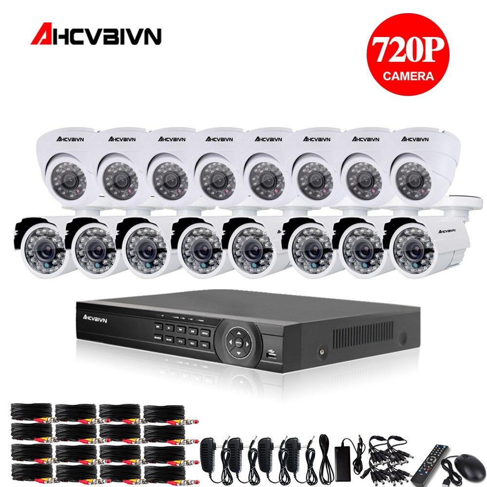16ch AHD CCTV Système 1.0MP 2000tvl DVR Kit 16CH AHD 1080 P DVR 16 pcs 720 p CCTV intérieur extérieur Caméra PC et Mobile Vue Plug And jouer