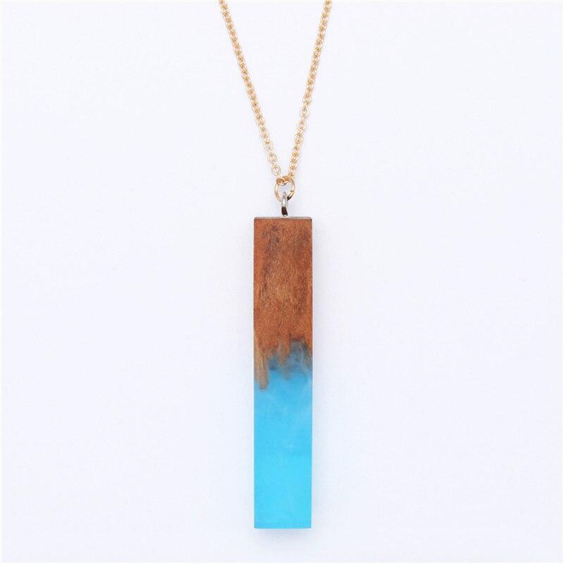 Бесплатная доставка модные женские новая оптовая продажа ювелирных изделий Смола дерева сочетание геометрический прямоугольный ожерелье …