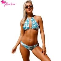Bikinis Set 2017 Summer Swimwear Women Tropical Printing Bikini Sexy Hanging Neck Low Waist Split Swimsuit