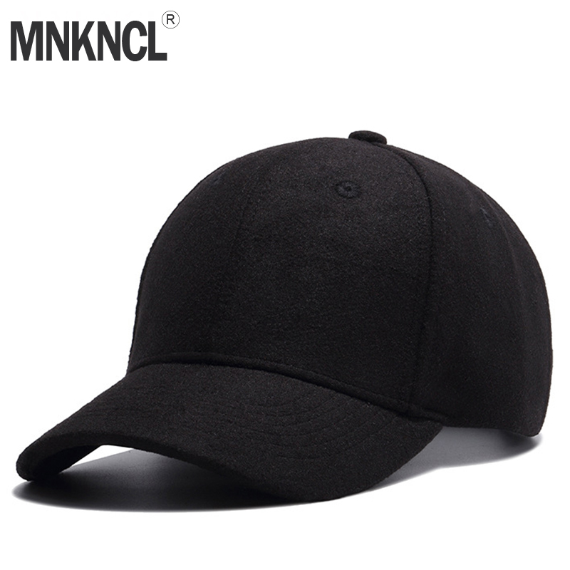 2018 New Men's Pure Wool Baseball Cap Winter Hat Warm Adjustable Autumn And Winter Hat Women's Hat Gorras Neutral Pure Wool Hat skullies beanies mink mink wool hat hat lady warm winter knight peaked cap cap peaked cap