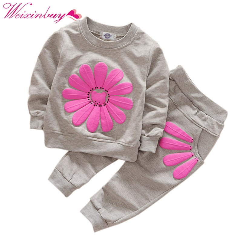 2pcs set spring autumn children clothing set Sweet baby girls sports suit sunflower Printed casual costume hoodies