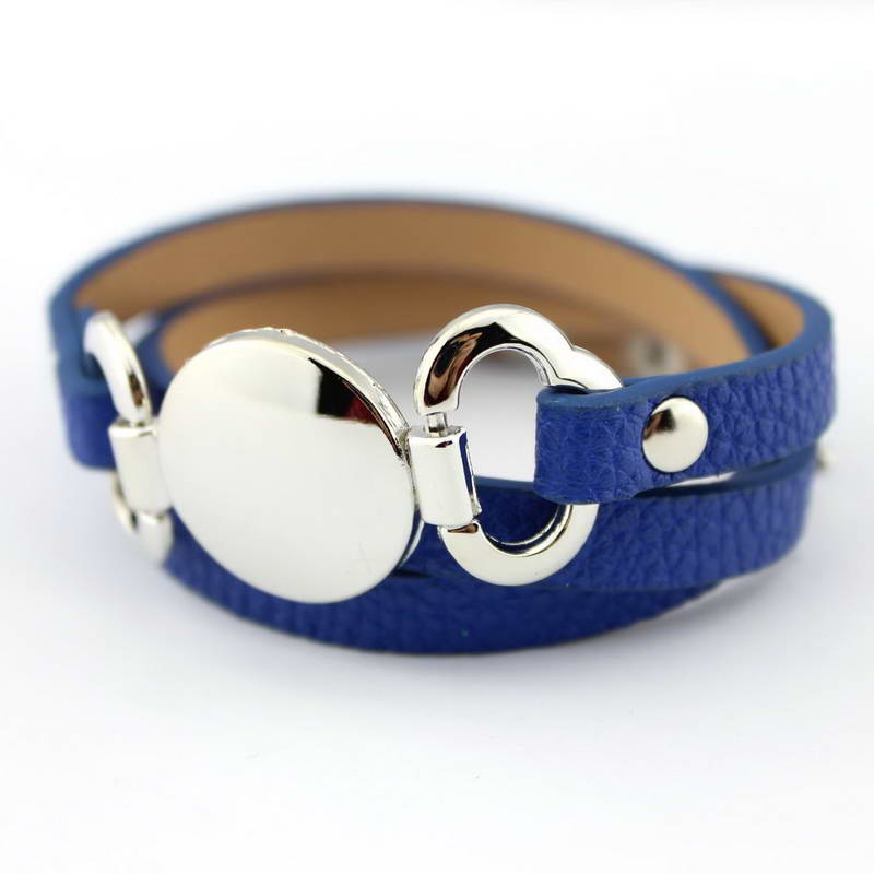 13 Colors Option Leather Wrap Monogram Bracelet  Blank Disc Charm - Fashion Jewelry - Photo 5