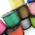 COLORED POWDER - 3mmx1.5mm Flat Faux Suede Velvet Leather Cord with Colored Powder - 100yds/pcs NCSS