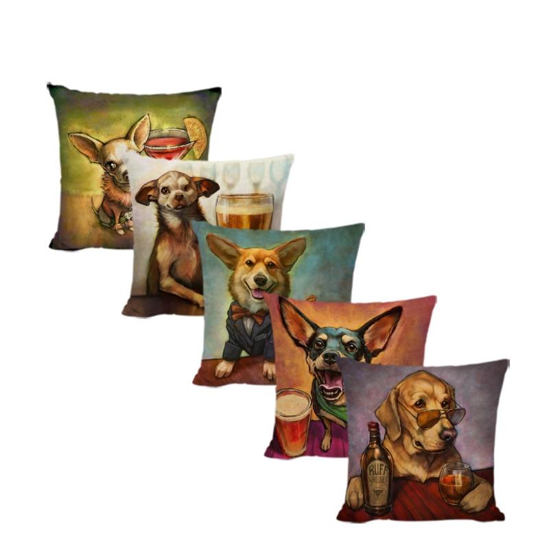 Lovely Pet Corgi Cushion Cover Beer Wine Coffee Golden