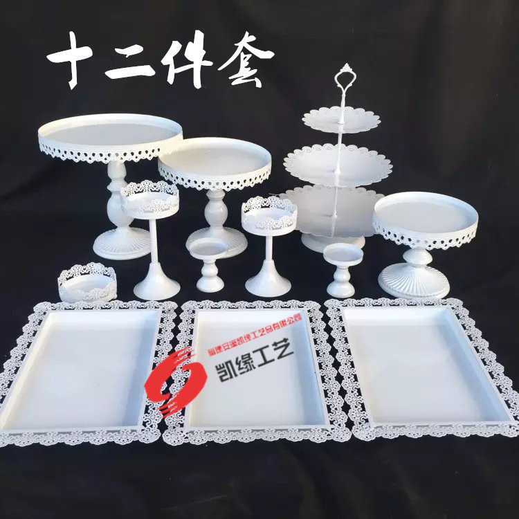 dhl set of 12 pieces white cake stand wedding cupcake stand set crystal candy bar decoration. Black Bedroom Furniture Sets. Home Design Ideas