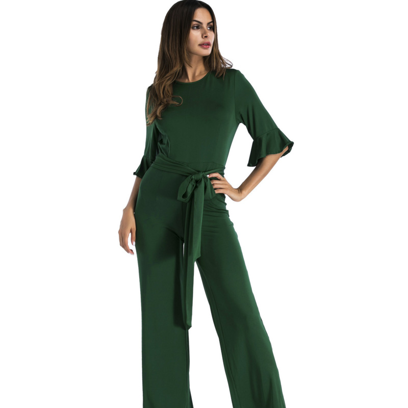 2017 Plus Size ruffles half sleeve green Jumpsuit Ladies Wide Leg Elegant Overalls Sexy tunic fashion Romper Women long Jumpsuit