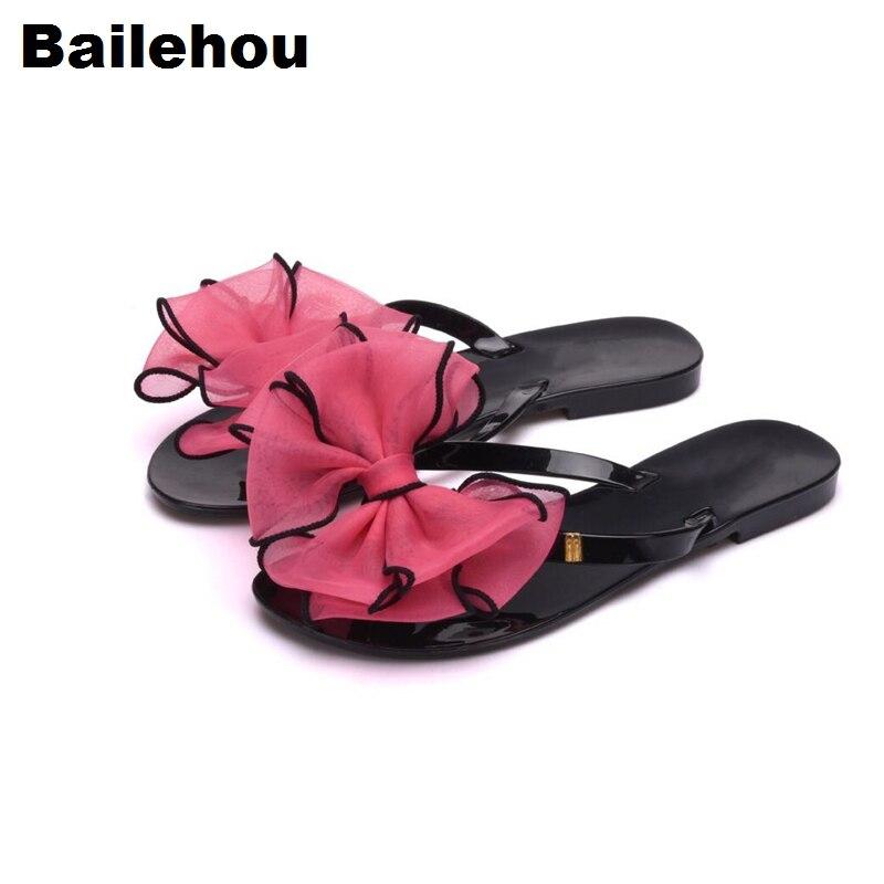 Bailehou бабочкой Для женщин без каблука Сандалии для девочек Пляжные сланцы Шлёпанцы для женщин слипоны Направляющие женская повседневная об...