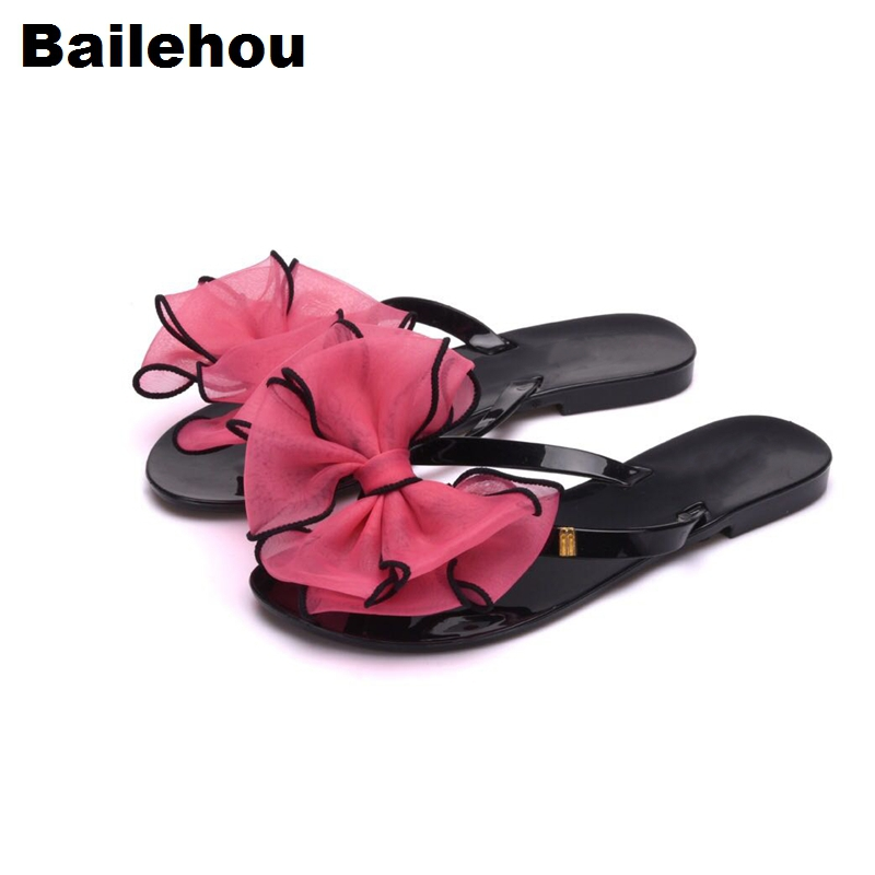 Bailehou Bowtie Women Flat Sandals Beach Flip Flops Slippers Slip On Slides Women Casual Shoes Sweet Butterfly-knot Slippers New стоимость