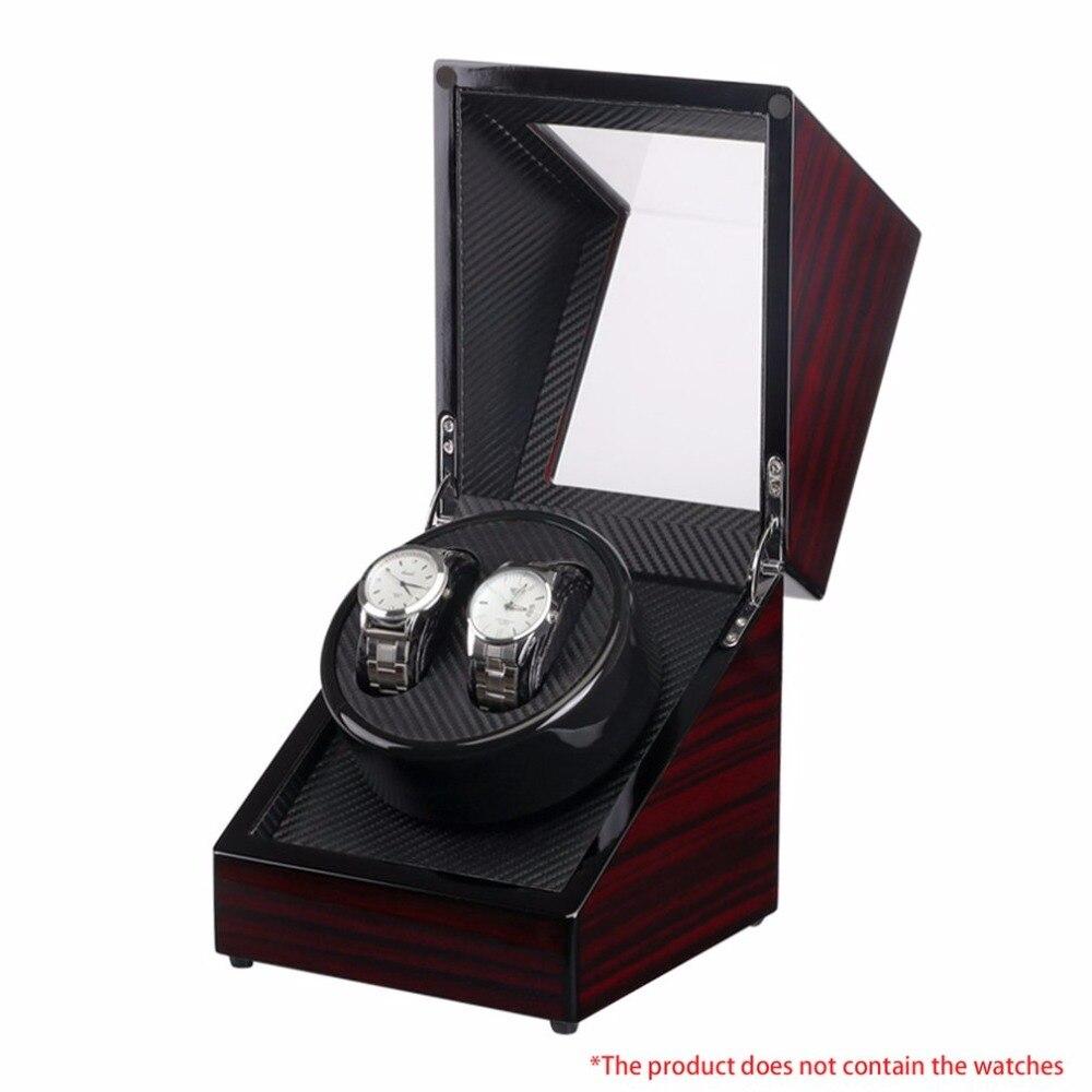 Boîte de montre en bois laque Piano brillant noir Fiber de carbone Double boîte de remontoir de montre silencieux moteur de stockage vitrine pour montres