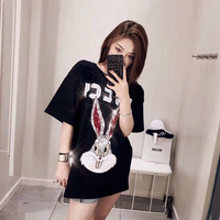 Unisex Design Cotton Street Summer Top 2018 New Short Sleeve Rabbit Head Sequins Embroidery Letters Casual