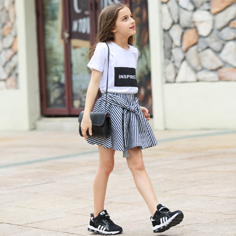 Tween Girl Fashion Black: Teenage Girls Clothing Summer Girls Set 2pcs Cotton Tops