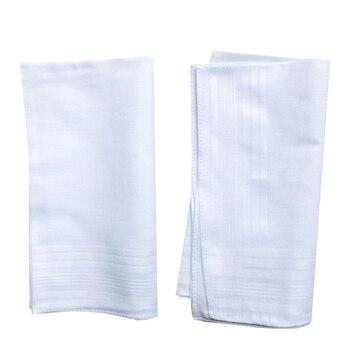 BAIYIXIN Men's Handkerchiefs White 100% Cotton Classic Hankies (No.HAKSB008)