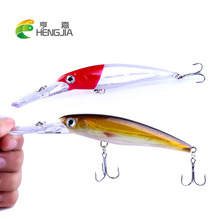 HENGJIA 1PC hard plastic minnow fishing lures artificial wobbler crankbaits diving swimbaits pesca tackles
