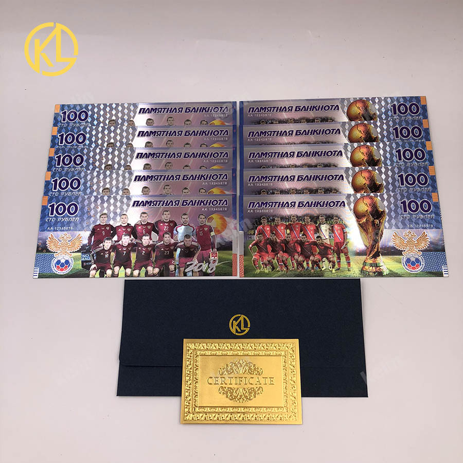 W010 cheap Shipping 10pcs/lot 2018 Sports 100 Roubles Silver Foil Banknotes For football fans gifts and Collection