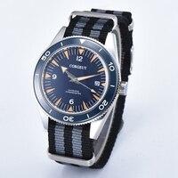 Corgeut 41 мм Мужские автоматические часы синий циферблат сапфир Стекло наручные Черный, серый цвет нейлон ремешок Miyota 8215 mov не часы 2013 bnsl