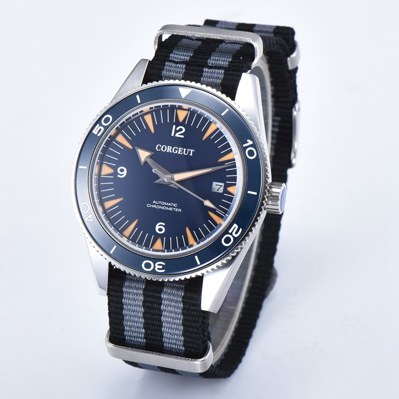 Corgeut 41mm Mens Automatic Watch Blue Dial Sapphire Glass WristWatch Black Gray Nylon Strap Miyota 8215 Mov't Watches 2013BNSL игрушка ecx ruckus gray blue ecx00013t1
