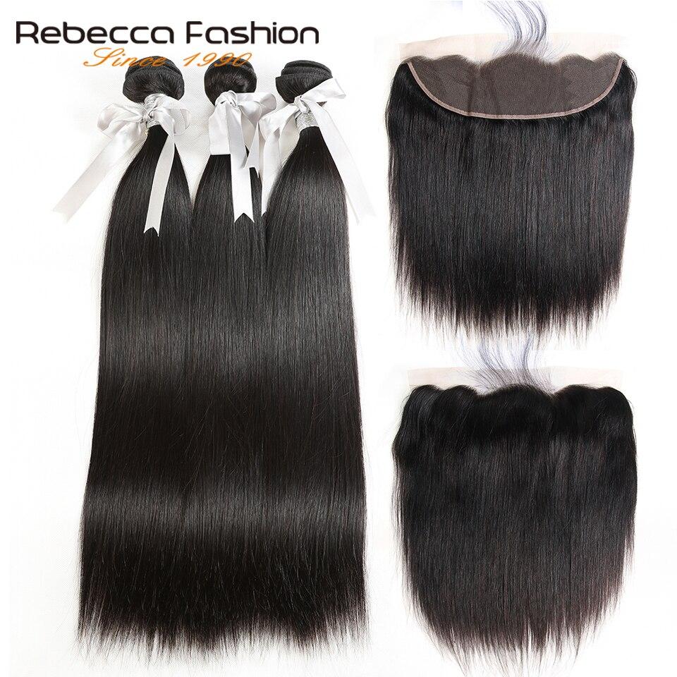 Rebecca malasia pelo liso 3 paquetes con frontales no Remy pelo - Equipos para peluquerías - foto 1