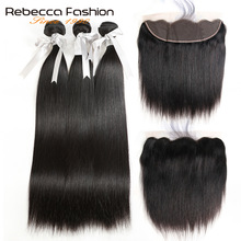 Rebecca Malaysian Straight Hair 3 Bundles Med Frontal Non Remy Menneskehår 13x4 Lace Frontal Closure With Bundles Gratis Levering