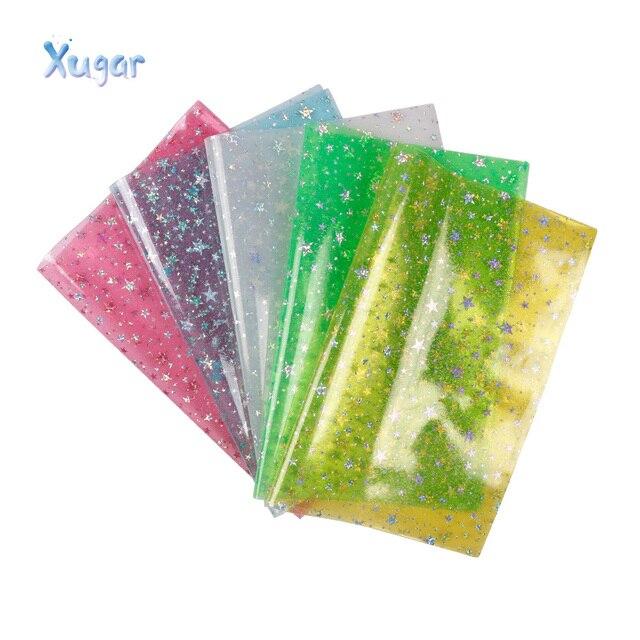 Acessórios 22*30 Xugar cm starfish estrelas vinil Transparente falso tecido de couro sintético, DIY Decorativo knotbow Saco Material de BRICOLAGE
