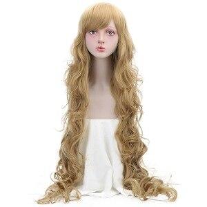 Длинные волнистые синтетические парики 42 дюйма для женщин, розовые, блонд, коричневые, высокотемпературные волокна, женские парики для косп...
