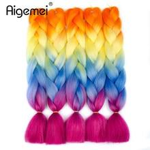 Ombre Цвет Высокотемпературные Волокна Плетение Наращивание Волос для Вязания Волос Jumbo