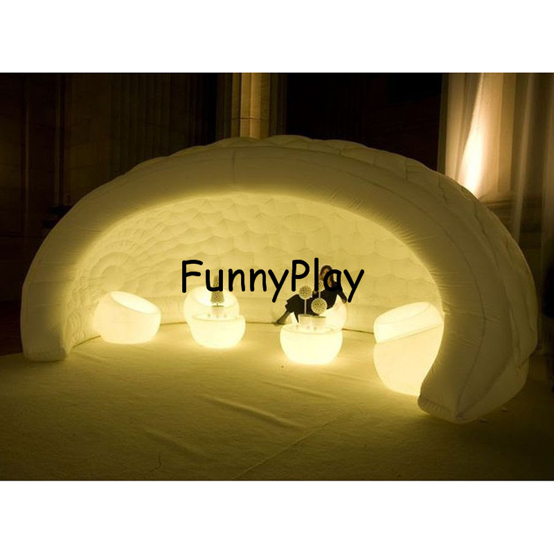 luna inflatable pob structure,beautiful led lighting inflatable bar tent for event party and wedding,air igloo shell tents