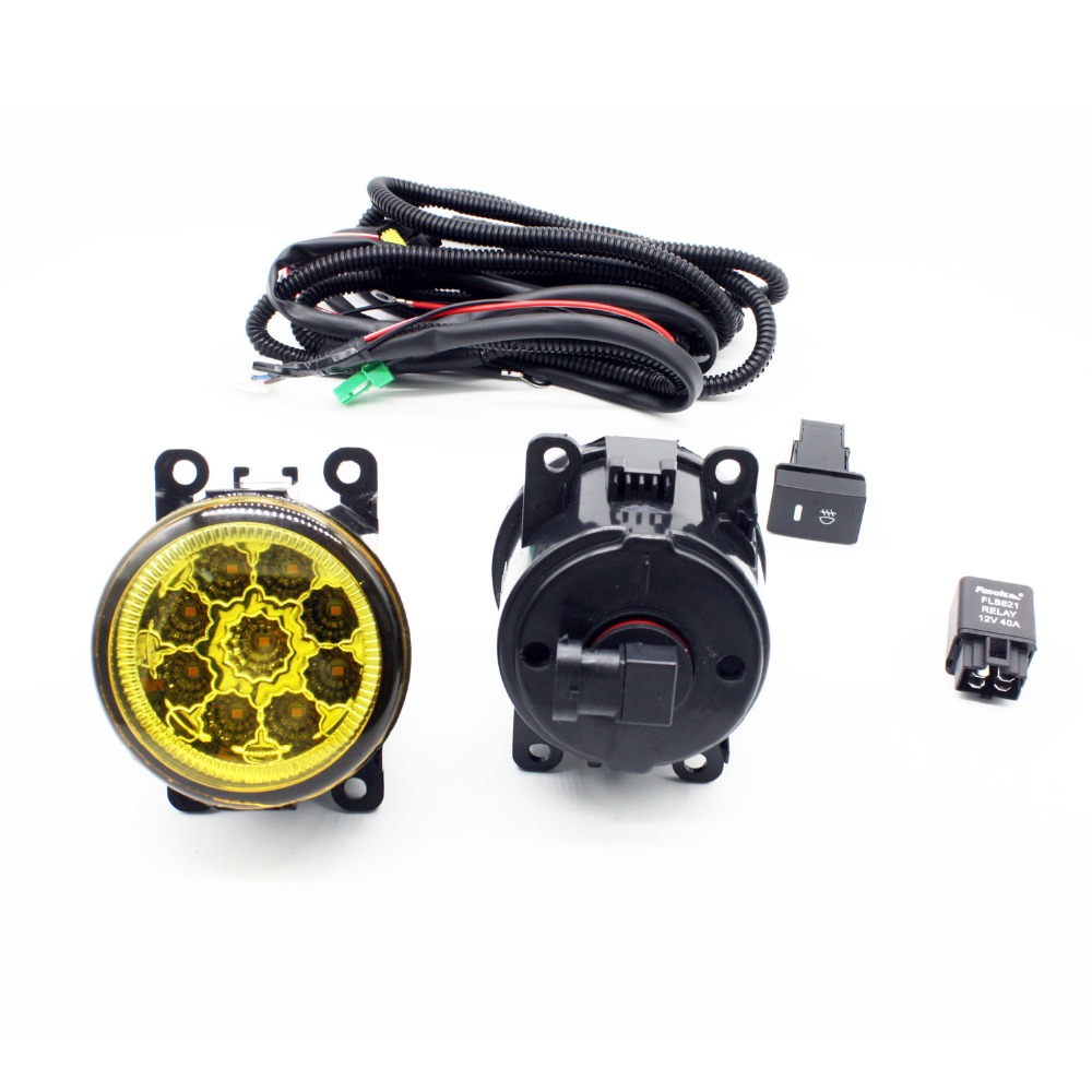 H11 Wiring Harness Sockets Wire Connector Switch + 2 Fog Lights DRL Front Bumper LED Lamp Yellow For DACIA LOGAN Saloon LS_ for renault logan saloon ls h11 wiring harness sockets wire connector switch 2 fog lights drl front bumper 5d lens led lamp