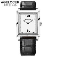 Agelocer Swiss Luxury Watches Leather Belt Quartz Watch Waterproof 50m Luminous Analog Clock Ladies Watches Square Women Gifts
