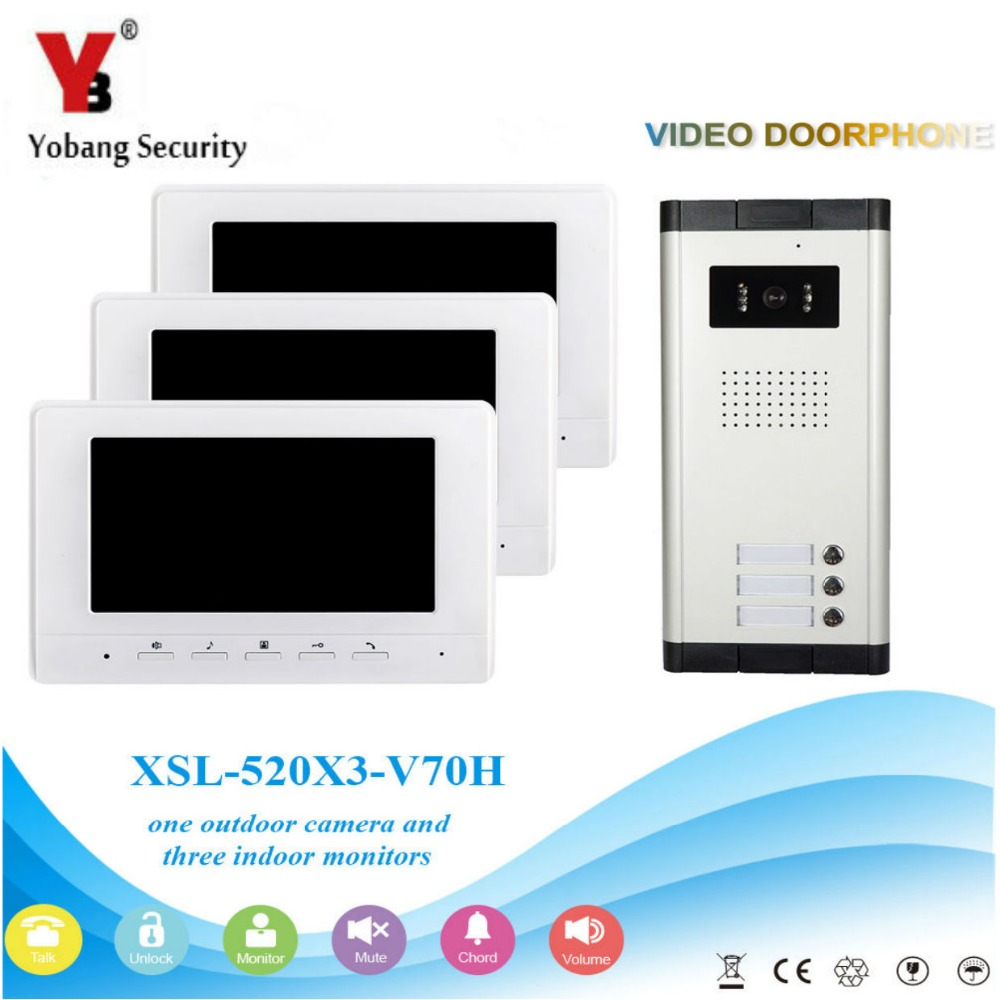 Yobang Security Visual Home Video Intercom 7'Inch Monitor +1000TVL Camera Video Doorbell Unlock Intercom System For 3 Apartment