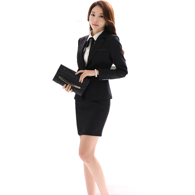 17d8600c8d5a Office Uniform Designs Women Skirt Suit 2019 Costumes for Womens Business  Suits Skirts with Blazer Black