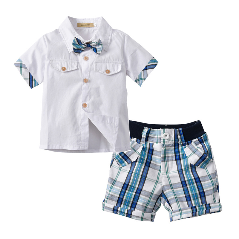 Kid Boy Clothes Set Formal Summer Infant Clothing Set for Boys Shirt + Plaid Pants Gentleman Short Outfits Tie Children Wedding