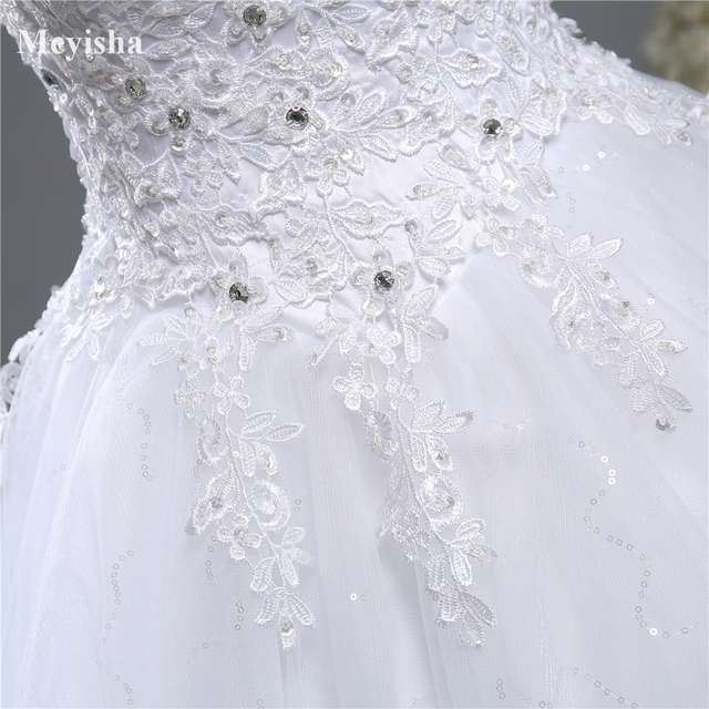 ZJ9139 Ball Gown Real Images Lace Tulle 2020 Wedding Dresses 2019 Dresses Bridal Dress Plus Size Shine Skirt Crystal Beads 6
