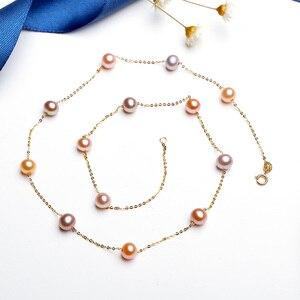 Image 2 - YS naszyjnik z pereł 18k czystego złota kobiety dziewczyna prezent na rocznicę naturalny naszyjnik z pereł naszyjnik towary wysokiej jakości biżuteria