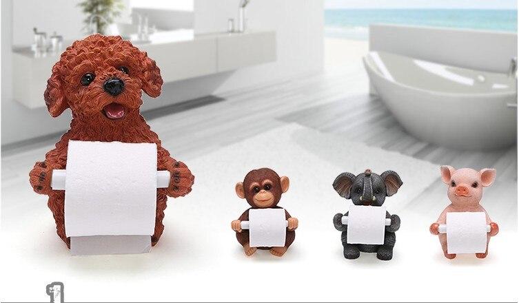 Plusieurs styles kawaii animal chien singe ours Durable mural salle de bains résine papier toilette papier porte-rouleau porte-papier toilette