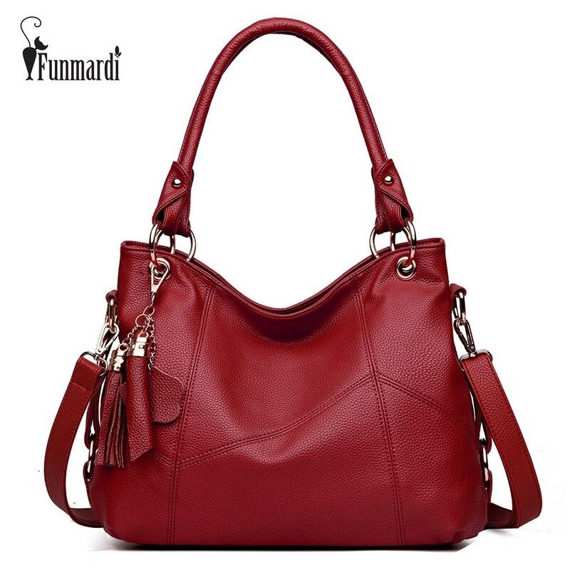FUNMARDI Vintage Patchwork Leather Top-handle Bags Tassel Women Leather Handbags Luxury Totes Bag Fashion Shoulder Bag WLHB1729