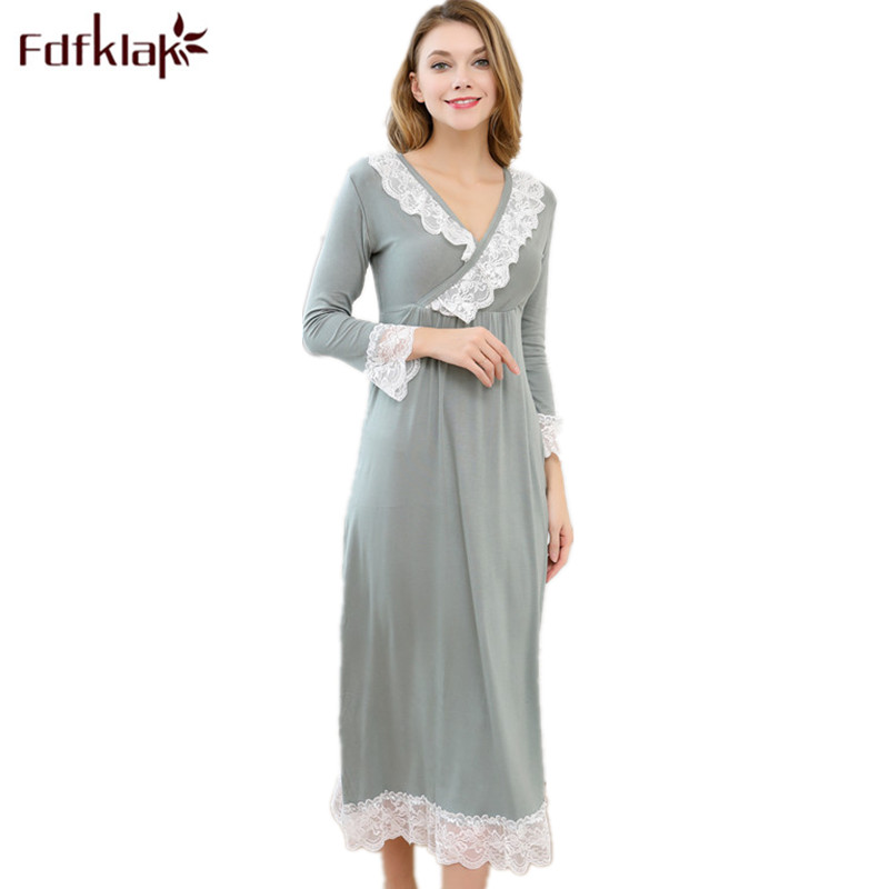 Fdfklak Sexy Sleepwear Nighties For Women Sleeping Dress Cotton Princess Nightgown Night Wear Long Nightgown Plus Size M-XXL