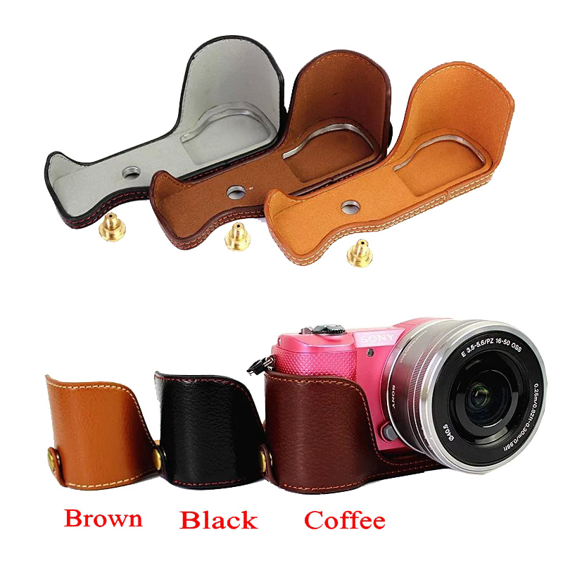 Genuine Leather Camera Case Bag For Sony A5000 A5100 Professional real Leather Camera Half case Black Coffee Brown image