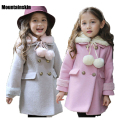 2016 Winter Girls Wool Coats Kids Warm Jackets 2-9Y Children's A-line Overcoat for Girls Snow Outerwear Outdoor parkas SC701