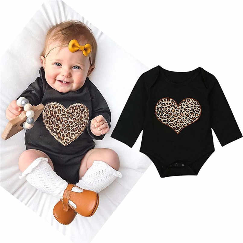 e18d6cc90 Babys Girls Clothes Toddler Infant Baby Girl Leopard Heart Printed Long  Sleeve Jumpsuit Romper Clothes Baby