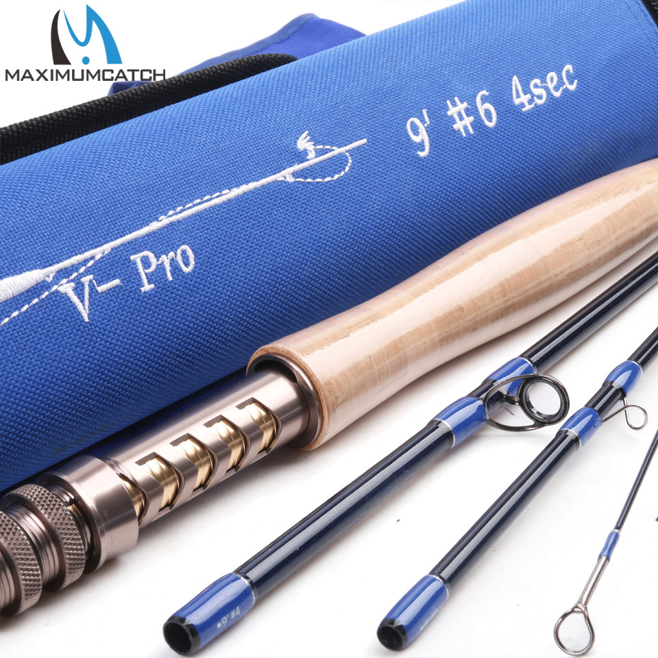 V-Pro 9064 Fly Fishing Rod 36T SK Carbon Fiber 9FT #6 4Pcs Fast Action Fly Rod With a Triangle Cordura Rod Tube crony st8003 3 gc pro stream series rod weight 79g 8 0 3 3pieces fly rod 6 15g fishing rod