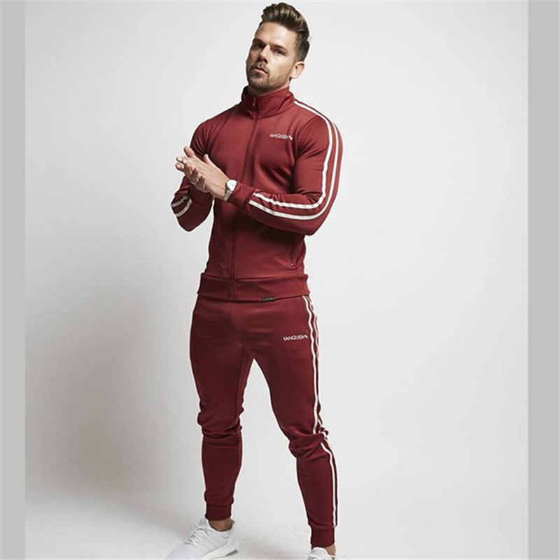 2019  Spring And Fall New Cotton Men's Black Leisure Gyms Sports Outdoor Running Training Zipper Suit Stand Collar