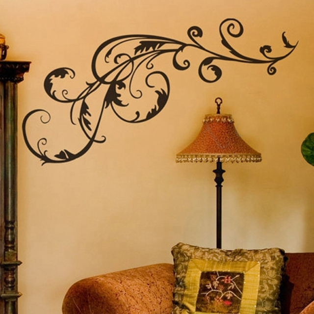 free shipping decorative vinyl flower swirl wall art decal stickers