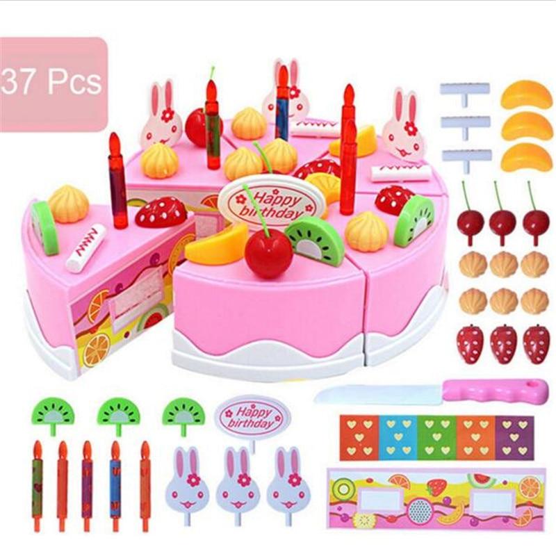 37 stücke Pretend Rolle Spielen Küche Spielzeug Glücklich Geburtstag Kuchen Lebensmittel Schneiden Set Kinder