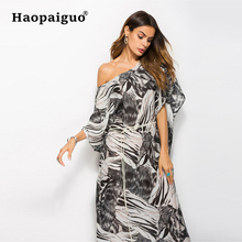 2019 Spring Summer Print Leopard Dress Women One-Shoulder Half Sleeve Black Chiffon Long Casual Elegant Dresses