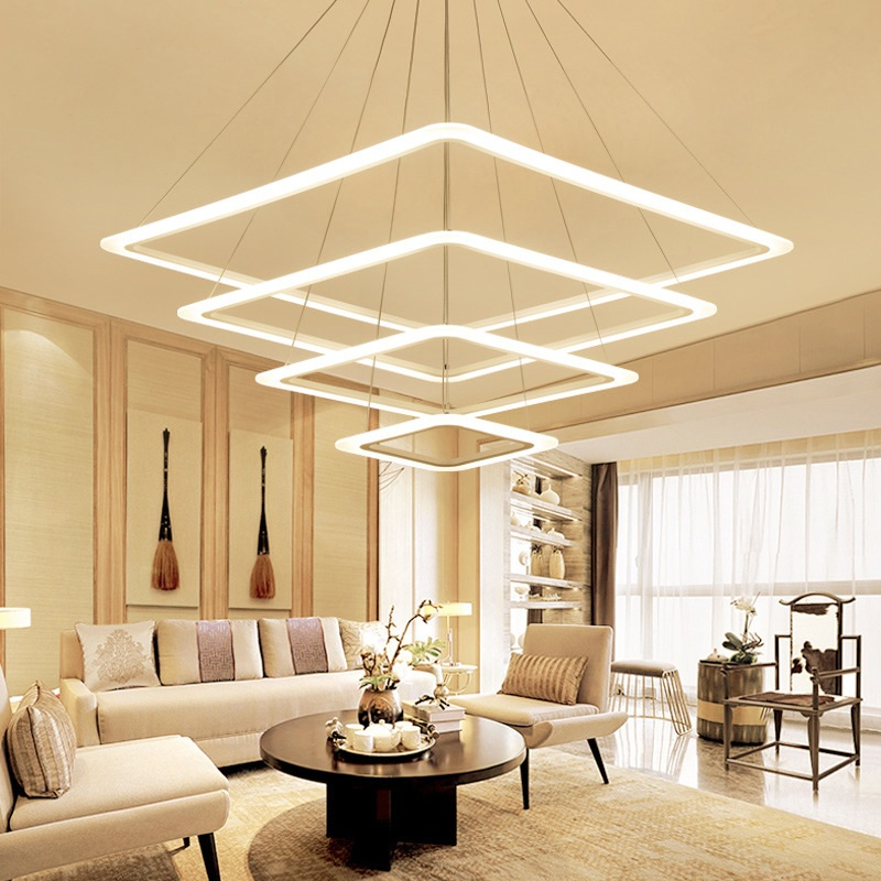 Acrylic Square Led Chandeliers Fixture